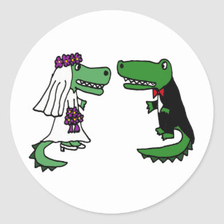 Funny Alligator Bride and Groom Cartoon Round Sticker