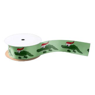 Funny Alligator in Santa Hat Christmas Ribbon Satin Ribbon