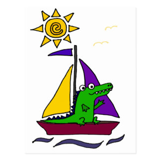Funny Alligator on Colorful Sailboat Postcard