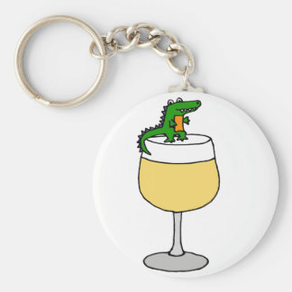 Funny Alligator on Wine Glass Key Ring