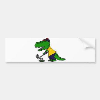Funny Alligator Playing Golf Bumper Sticker
