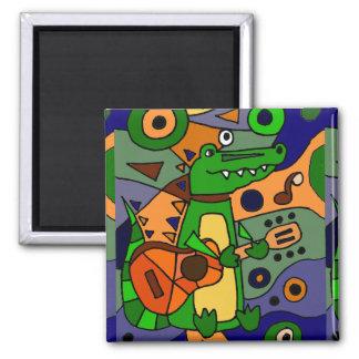 Funny Alligator Playing Guitar Modern Art Design Magnet