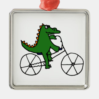 Funny Alligator Riding Bicycle Cartoon Christmas Ornament