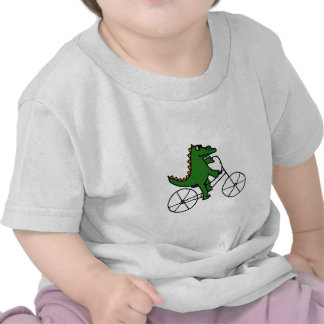 Funny Alligator Riding Bicycle Cartoon T Shirt