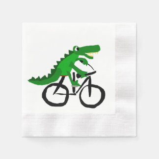 Funny Alligator Riding Bicycle Disposable Serviette