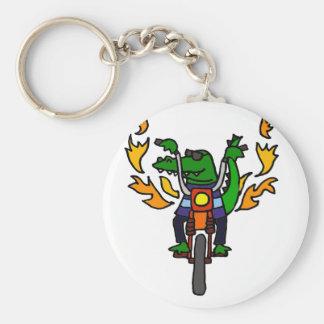 Funny Alligator Riding Motorcycle Basic Round Button Key Ring