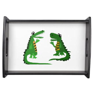 Funny Alligator Talking to Crocodile Serving Tray