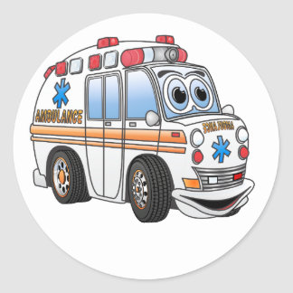 Funny Ambulance Cartoon Classic Round Sticker