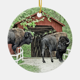 Funny American Bison At The Covered Bridge Christmas Ornament