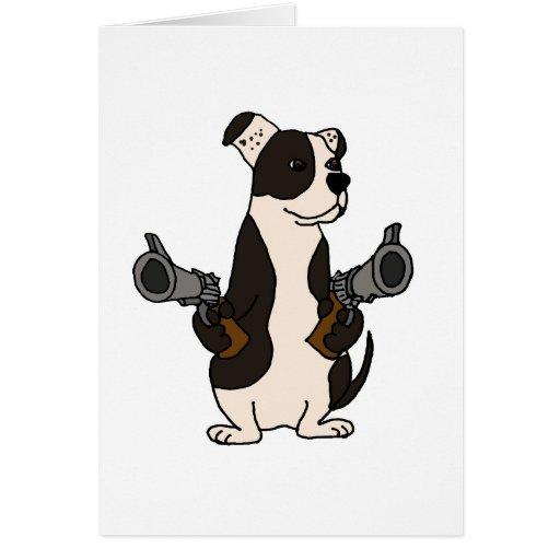 Funny American Bulldog with Guns Drawn Cartoon Greeting Cards
