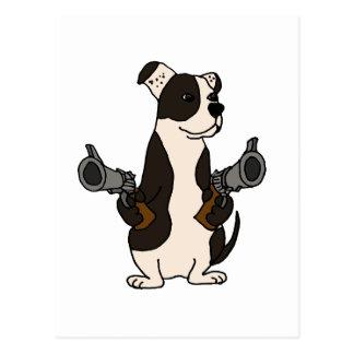 Funny American Bulldog with Guns Drawn Cartoon Postcard