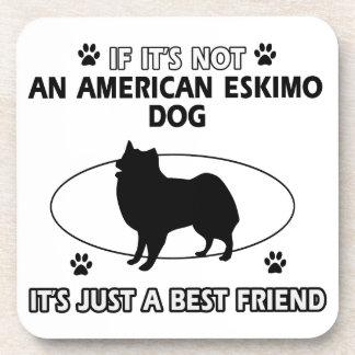funny AMERICAN ESKIMO DOG design Beverage Coaster