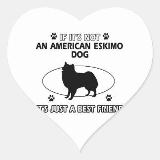 funny AMERICAN ESKIMO DOG design Heart Sticker