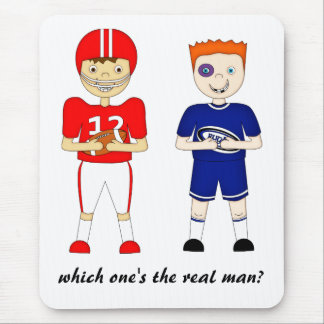 Funny American Football versus Rugby Cartoon Mouse Mat