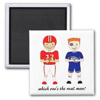 Funny American Football versus Rugby Cartoon Square Magnet