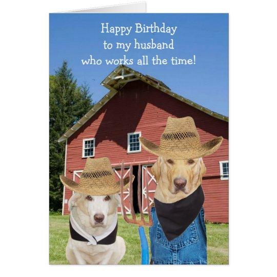 Funny American Gothic Lab Husband Birthday Card