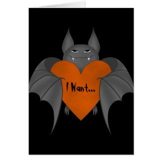 Funny amorous Halloween vampire bat Greeting Card
