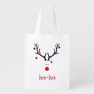 Funny and cute minimalist Santa's reindeer Reusable Grocery Bag