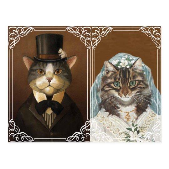 Funny and cute wedding invitation postcard