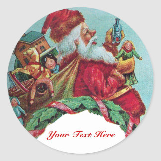 FUNNY AND HUMOROUS SANTA CLAUS VINTAGE CROWN STICKERS