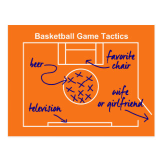 Funny and original basketball game tactics, postcard