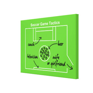 Funny and original soccer game tactics stretched canvas print