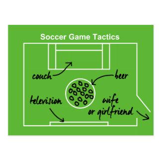 Funny and original soccer game tactics, postcard