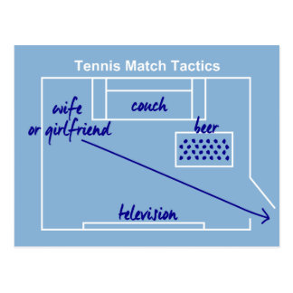 Funny and original tennis match tactics, postcard