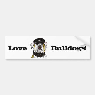Funny and Tough Bulldog with Leather Clothes Bumper Sticker