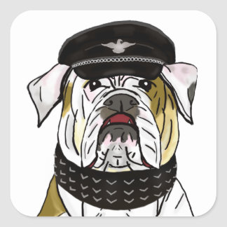 Funny and Tough Bulldog with Leather Clothes Square Sticker