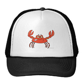 funny angry crabby red crab cap