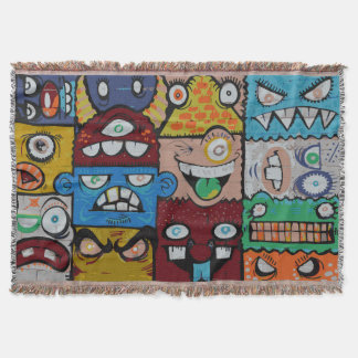 Funny Angry Creatures Colorful Street Art Blanket