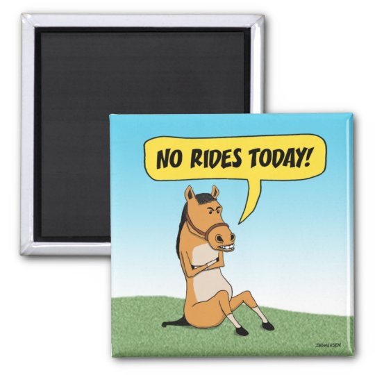 Funny Angry Horse Square Magnet