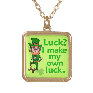 Funny Angry Lucky Irish Leprechaun Square Pendant Necklace