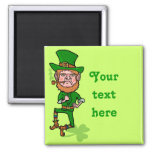 Funny Angry Lucky Irish Leprechaun Square Magnet