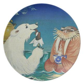 Funny animal tea time plate