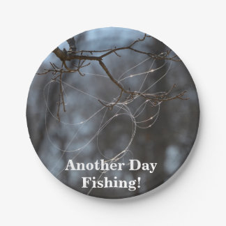Funny Another Day Fishing Tangled Line On A Tree Paper Plate
