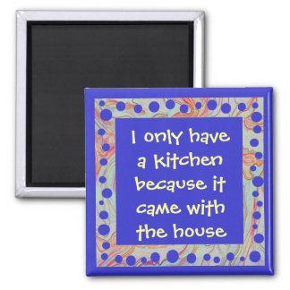 funny anti-cook art square magnet