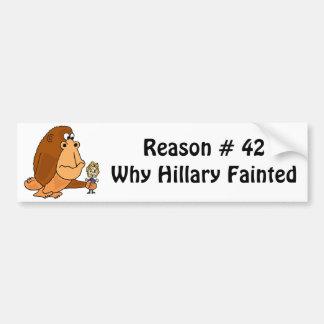 Funny Ape Holding Hillary Political Cartoon Bumper Sticker