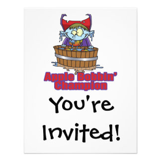 funny apple bobbing champion cartoon invites