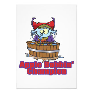funny apple bobbing champion cartoon personalized announcement