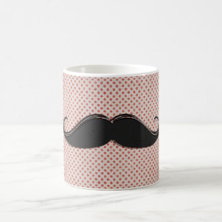 Funny Artistic Black Mustache & Red Polka Dots Coffee Mug