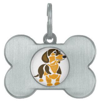Funny Artistic Dachshund Dog Art Pet Name Tag