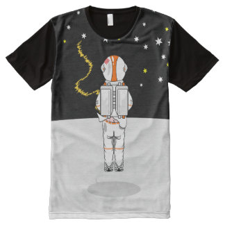 Funny Astronaut Caught Short Weeing In Space All-Over Print T-Shirt