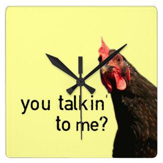 Funny Attitude Chicken Square Wall Clock