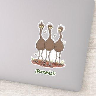 Funny Australian emu trio cartoon illustration