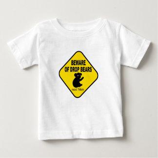 Funny Australian Sign. Beware of Drop Bears. Baby T-Shirt