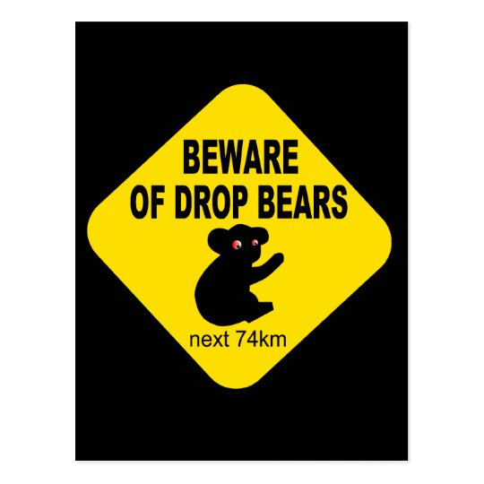Funny Australian Sign. Beware of Drop Bears. Postcard