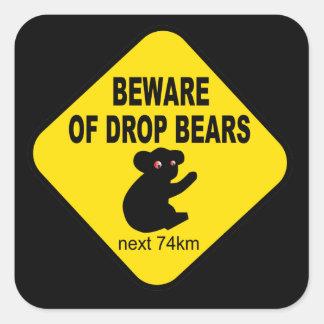 Funny Australian Sign. Beware of Drop Bears. Square Sticker