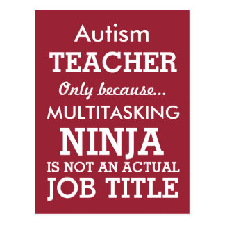 Funny Autism Special Needs Teacher Postcard
